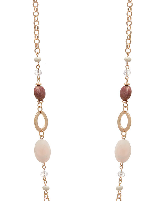 Rose Gold Beaded Long Necklace, Pink/Rose Gold