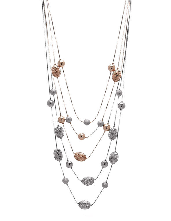 Silver/Rose Gold Beaded Necklace, Silver/Rose Gold, hi-res