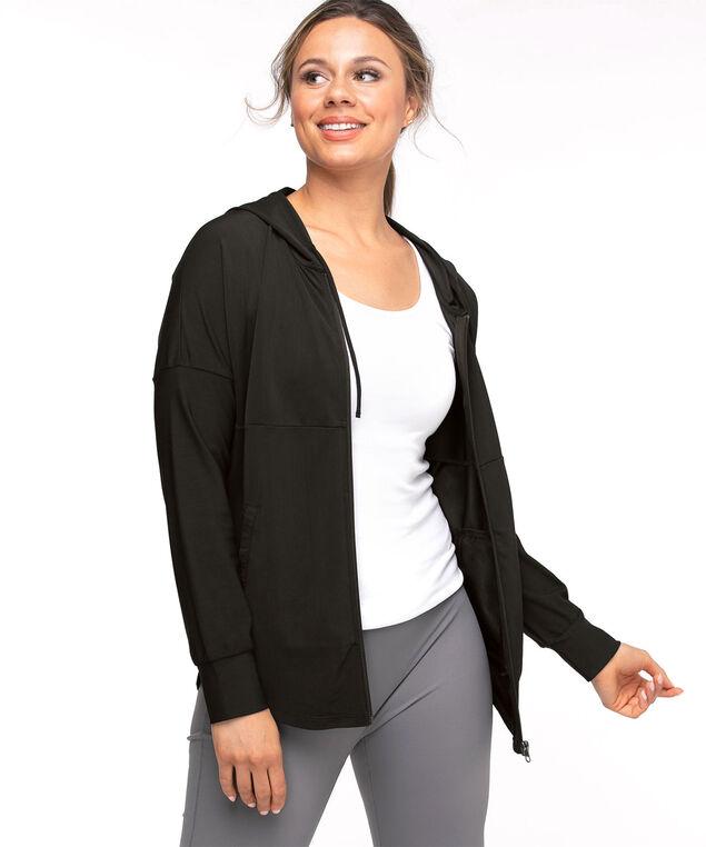 Active Zip Front Jersey Hoodie, Black