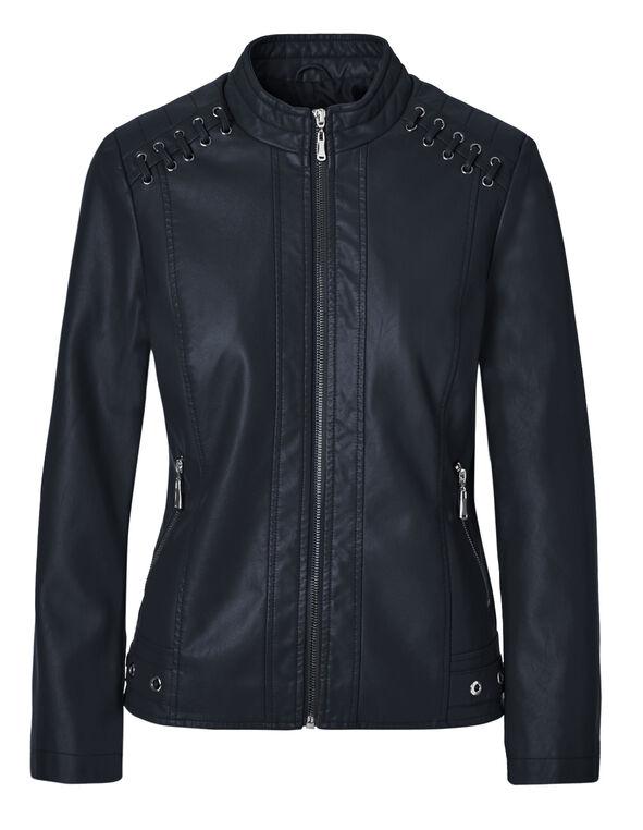 Navy Scuba Faux Leather Jacket, Navy, hi-res