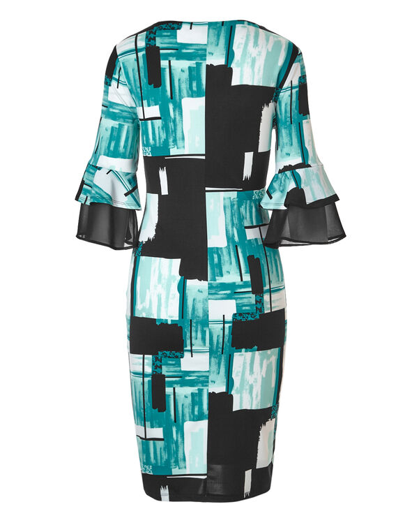 Graphic Print Ruffle Sleeve Dress, Black/Teal, hi-res