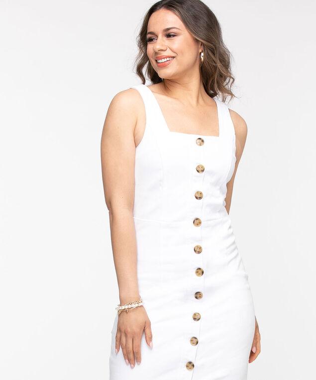 White Denim Button Front Dress, White
