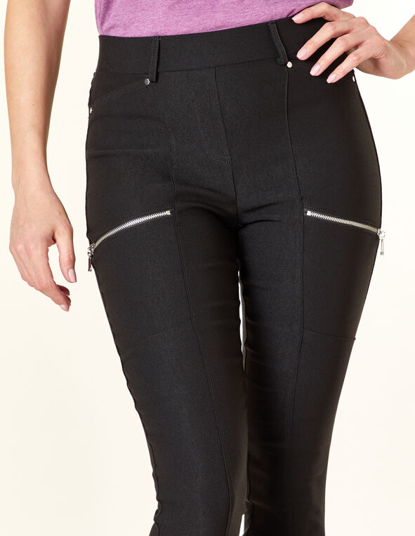 Black Slim Moto Ankle Pant, Black, hi-res
