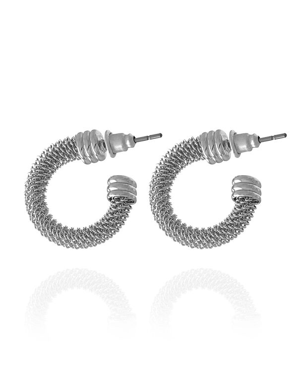 Mesh Hooper Loop Earring, Silver