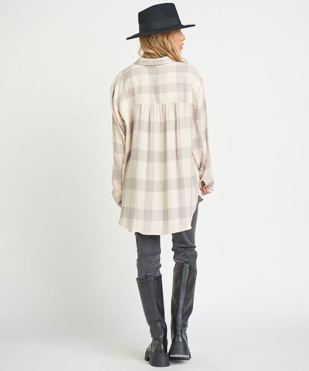 Dex Button Front Tunic Shirt, Grey Plaid