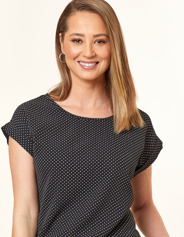 Black Micro Dot Blouse, Black, hi-res