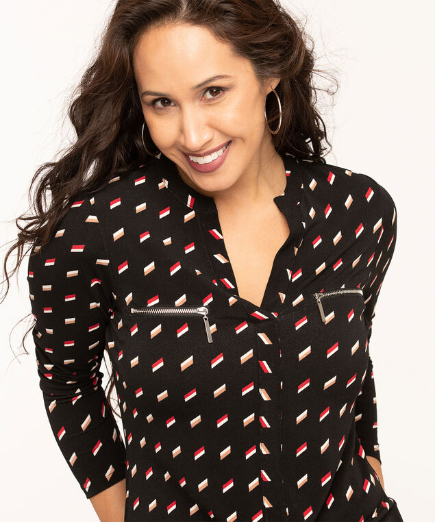 Zipper Pocket Long Sleeve Top, Black/Camel/Red Print, hi-res