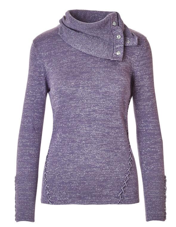 Lavender Criss Cross Shimmer Sweater, Lavender, hi-res