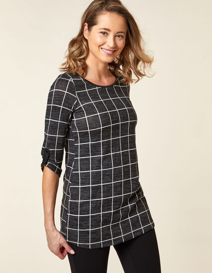 Black Hacchi Knit Tunic Top, Black, hi-res