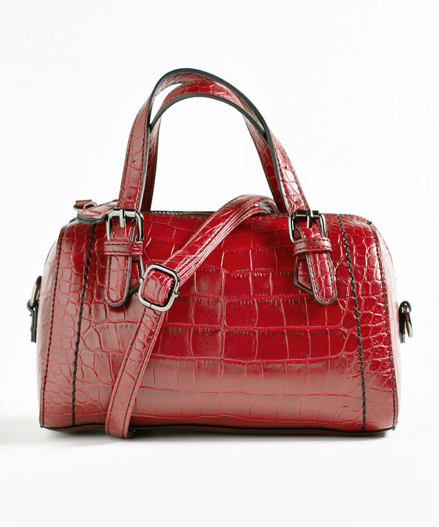 Red Croco Small Barrel Handbag, Red, hi-res