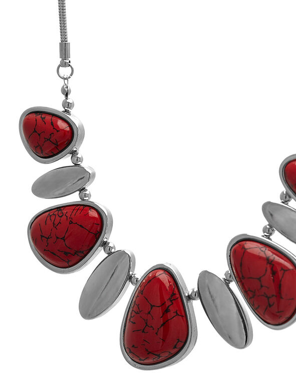 Short Red Stone Statement Necklace, Red, hi-res