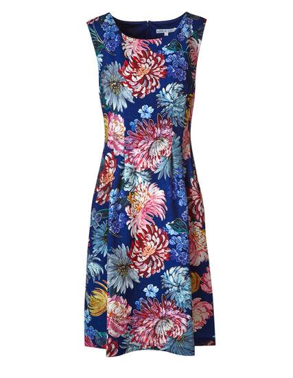Blue Floral Fit & Flare Dress, Blue/Pink, hi-res