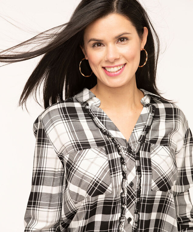 Plaid Ruffled Front Tunic Blouse, Black/Ivory/Light Grey