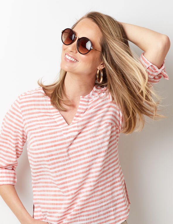 Cajun Striped Blouse, Cajun/Orange, hi-res