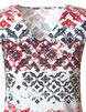 Coral Printed Lace Shoulder Cotton Tee, Coral/White, hi-res