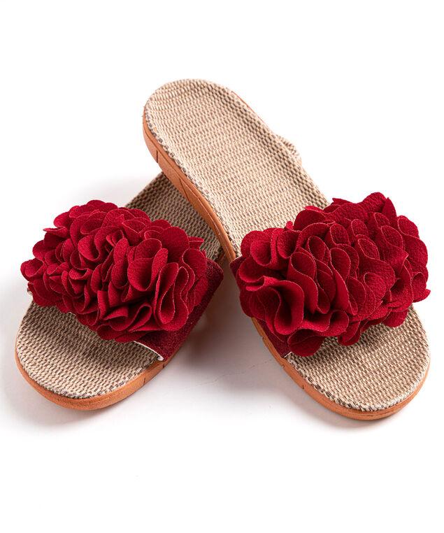 Ruffle Slide Slippers, Red