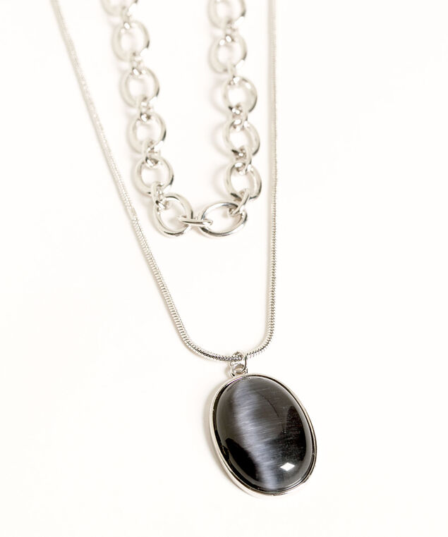 Double Chain Short Pendant Necklace, Silver/Black, hi-res