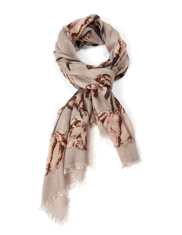 Neutral Tulip Oblong Scarf, Grey, hi-res