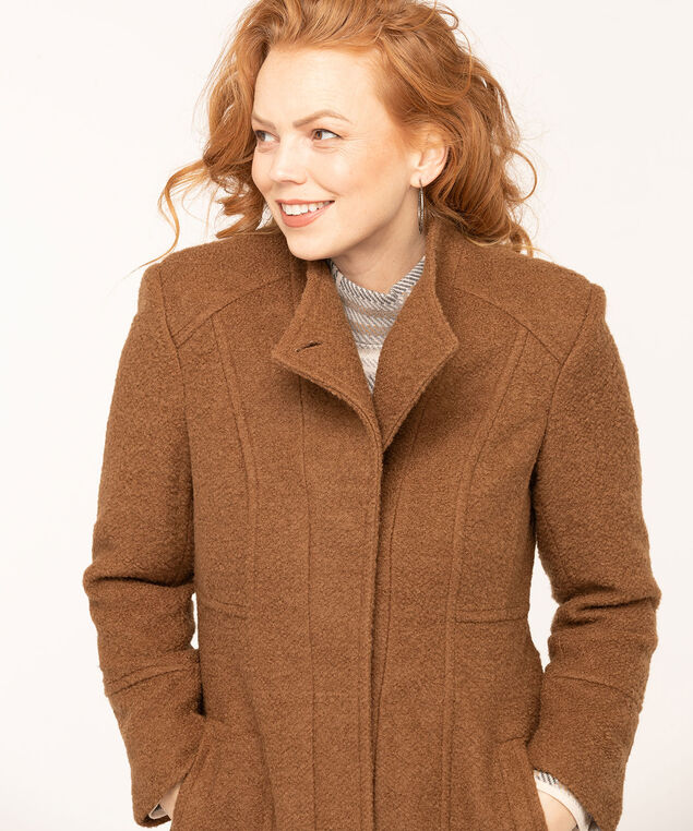 Bouclé Standing Collar Coat, Camel, hi-res