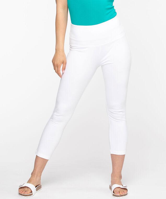 Cotton Blend Capri Legging, White