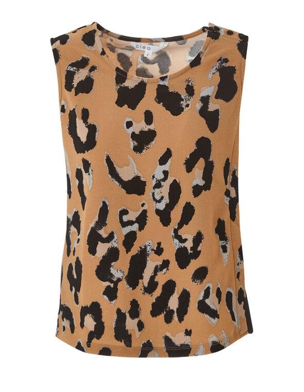 Leopard Printed Chiffon Detail Top, Camel, hi-res