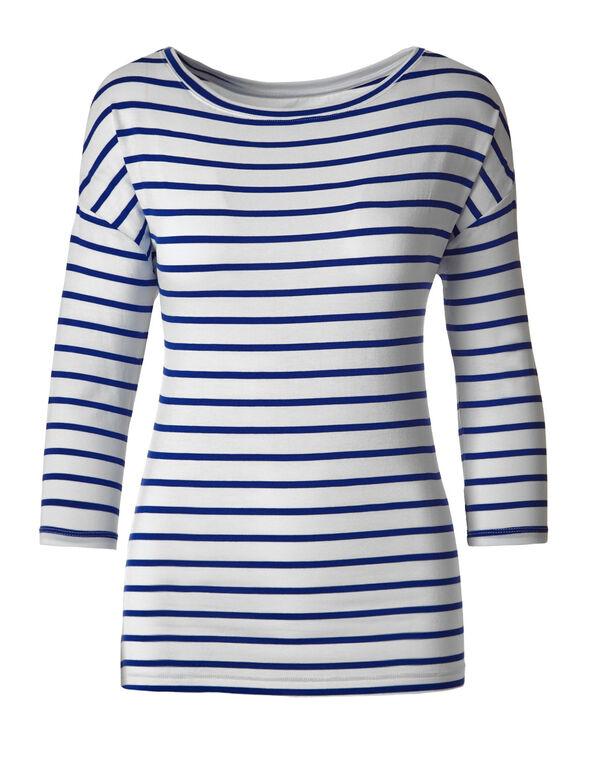 Blue Striped Drop Sleeve Tee, White/Blue, hi-res