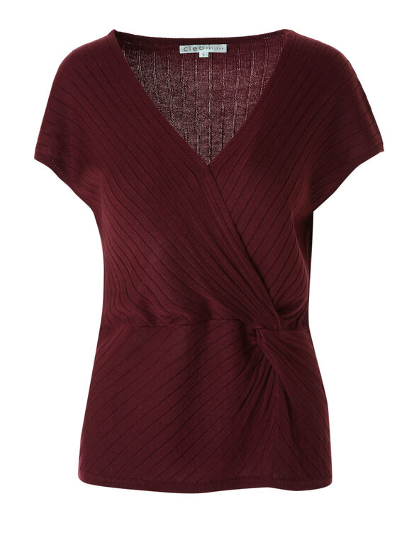 Merlot Knotted Pullover Sweater, Merlot, hi-res