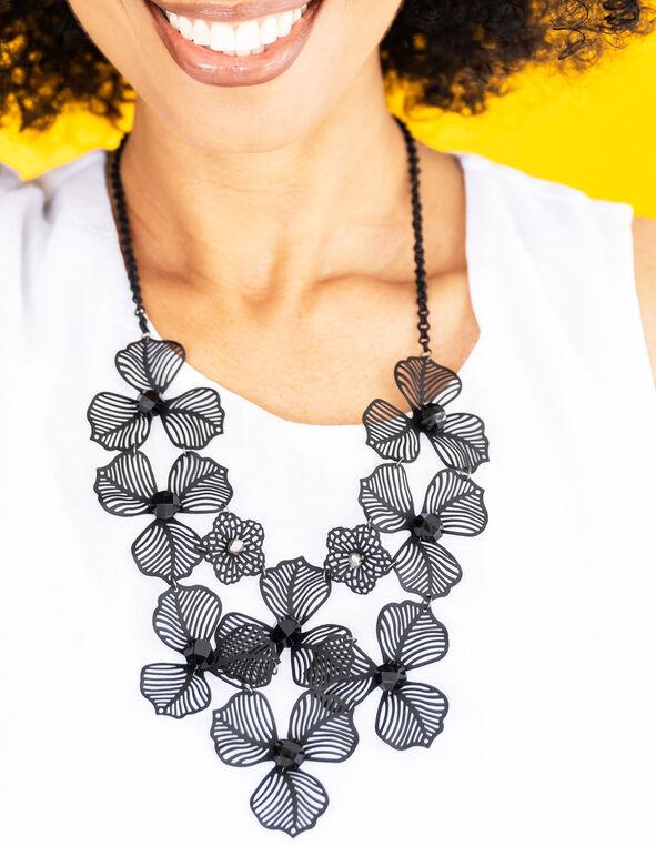 Short Black Floral Statement Necklace, Black, hi-res
