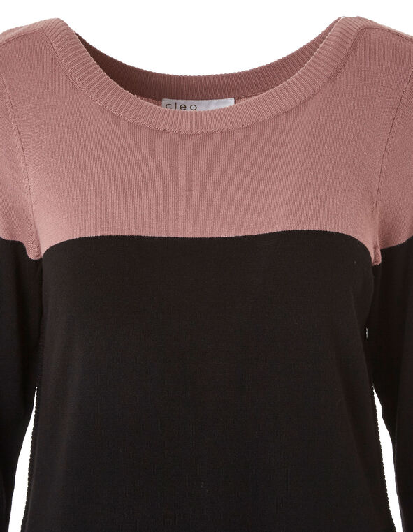 Rose & Black Essential Sweater, Rose, hi-res