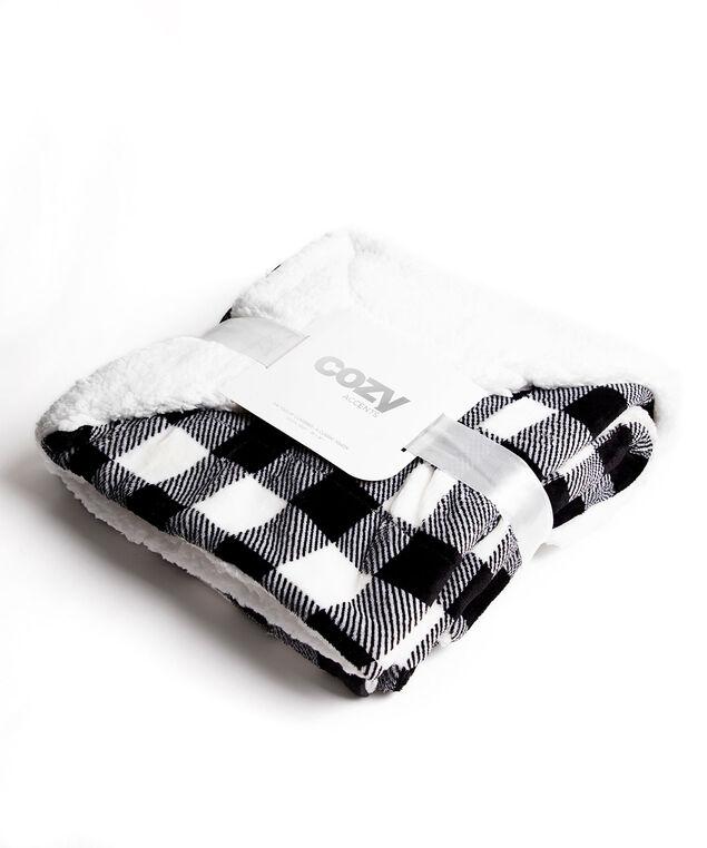 Buffalo Check Plush Blanket, Black/White Buffalo Check