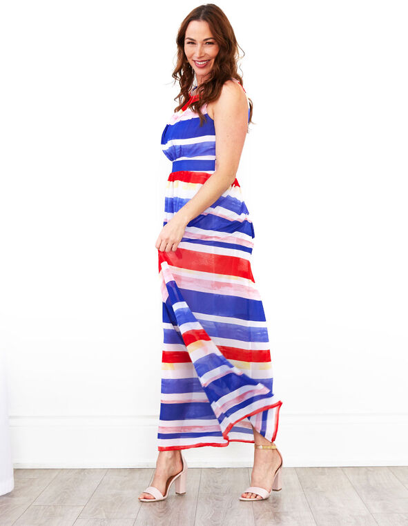 Multi Striped Maxi Dress, Blue/White, hi-res