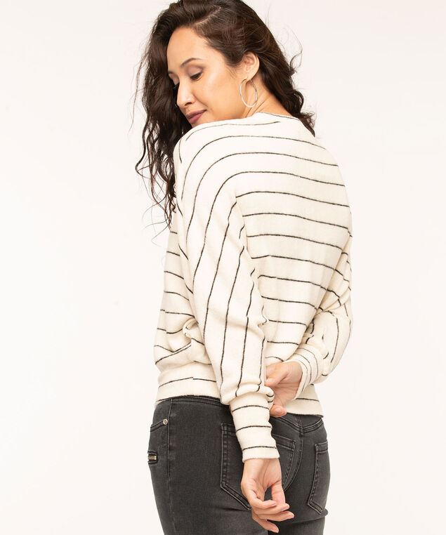 Ivory Stripe Dolman Sleeve Top, Ivory/Black, hi-res