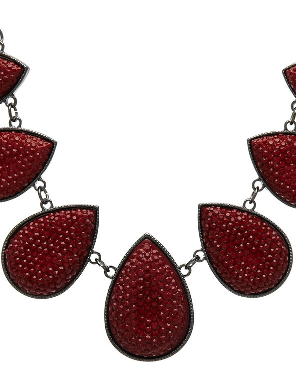 Ruby Caviar Beaded Statement Necklace, Red, hi-res