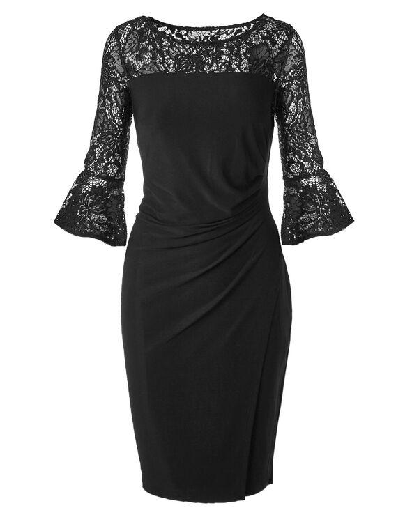 Black Lace Bell Sleeve Dress, Black, hi-res