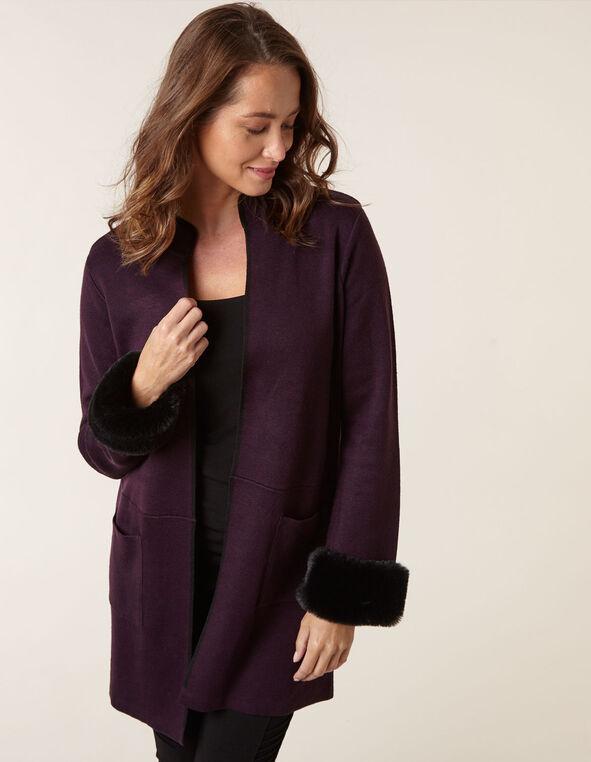 Purple Fur Cuff Sweater Coat, Purple, hi-res