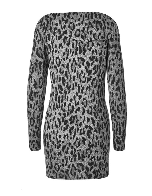 Grey Animal Printed Hacchi Tunic Top, Grey, hi-res