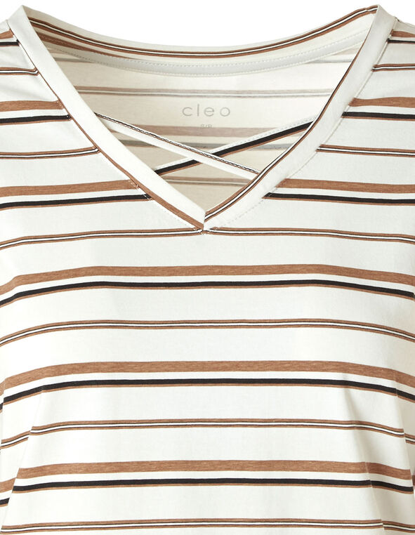 Ivory Striped Crisscross Tee, Ivory, hi-res