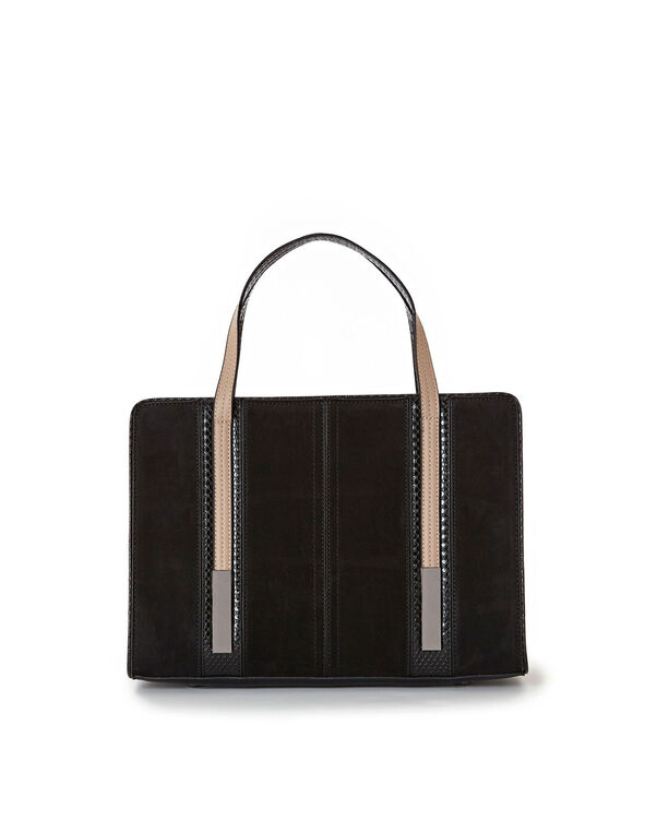 Black Suede Handbag, Black, hi-res