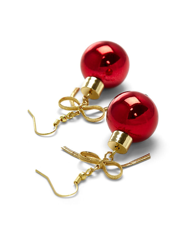 Red Ornament Earrings, Red, hi-res