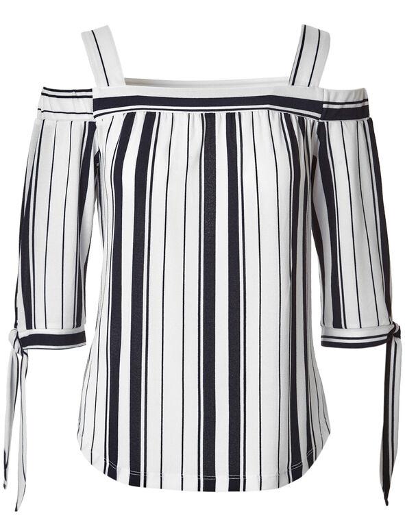 Striped Off Shoulder Top, White/Navy Stripe, hi-res