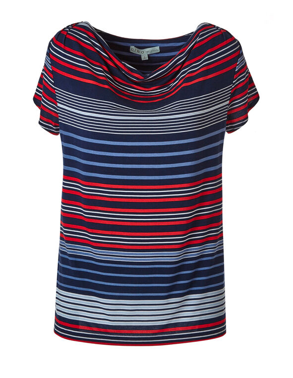 Stripe Cowl Neck Top, Stripe, hi-res