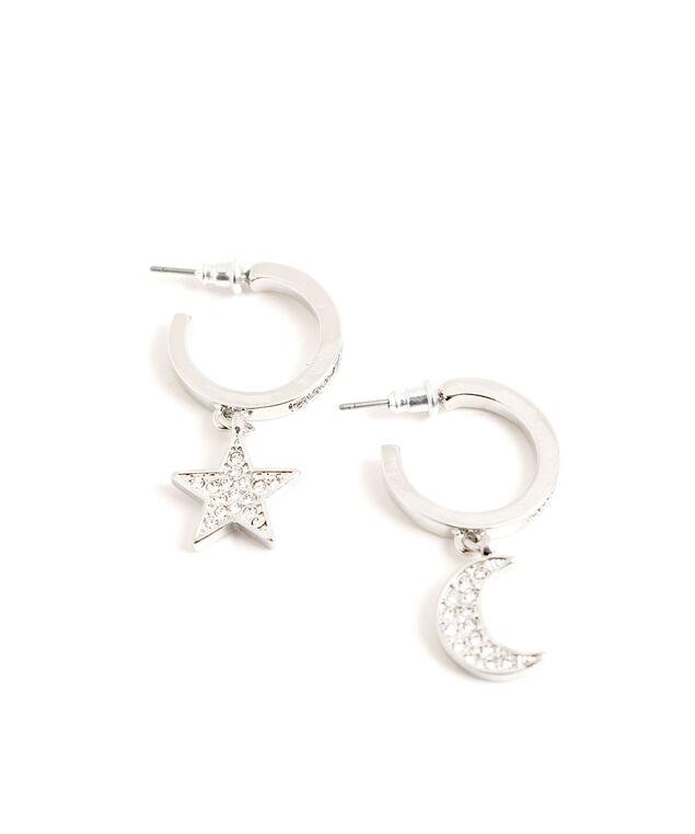 Star & Moon Hoop Earring, Silver