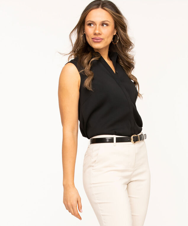 Sleeveless Collared Button Front Blouse, Black