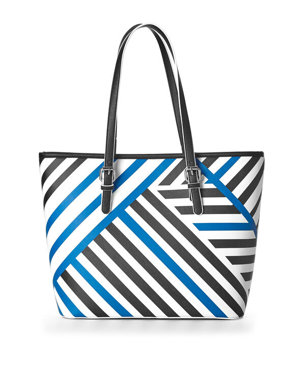 Blue Striped Tote, Black/White/Blue, hi-res