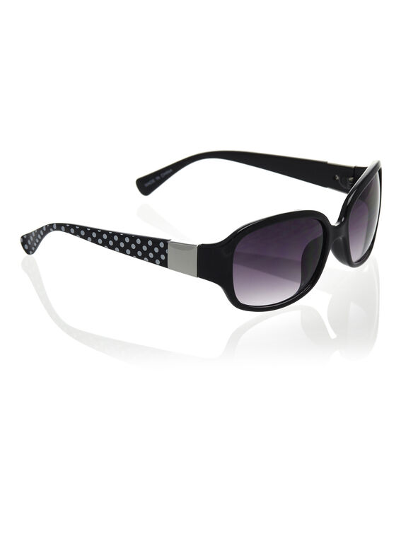 Black Small Frame Sunglasses, Black, hi-res