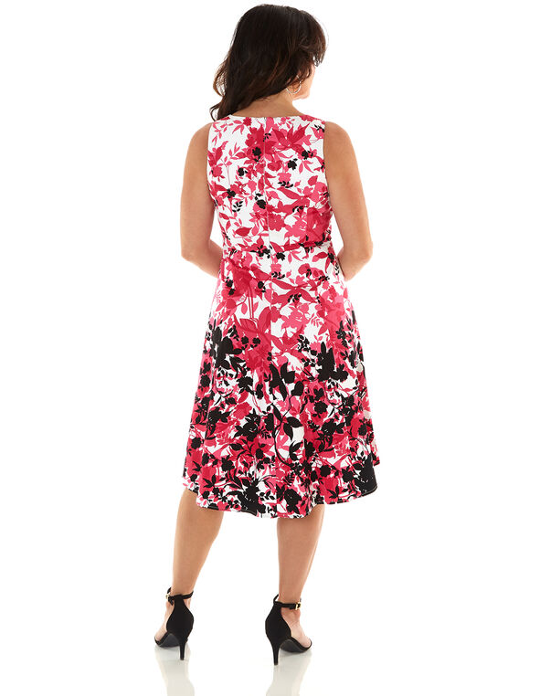 Hot Pink Floral Fit & Flare Dress, Hot Pink, hi-res