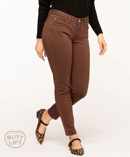 Butt Lift 5-Pocket Slim Pant, Chocolate, hi-res