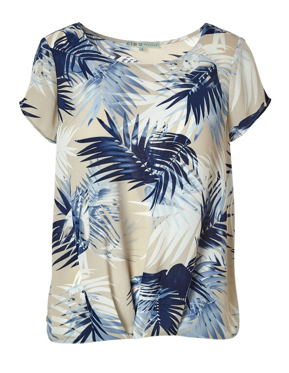 Blue Tropical Palm Printed Blouse, Neutral/Blue, hi-res
