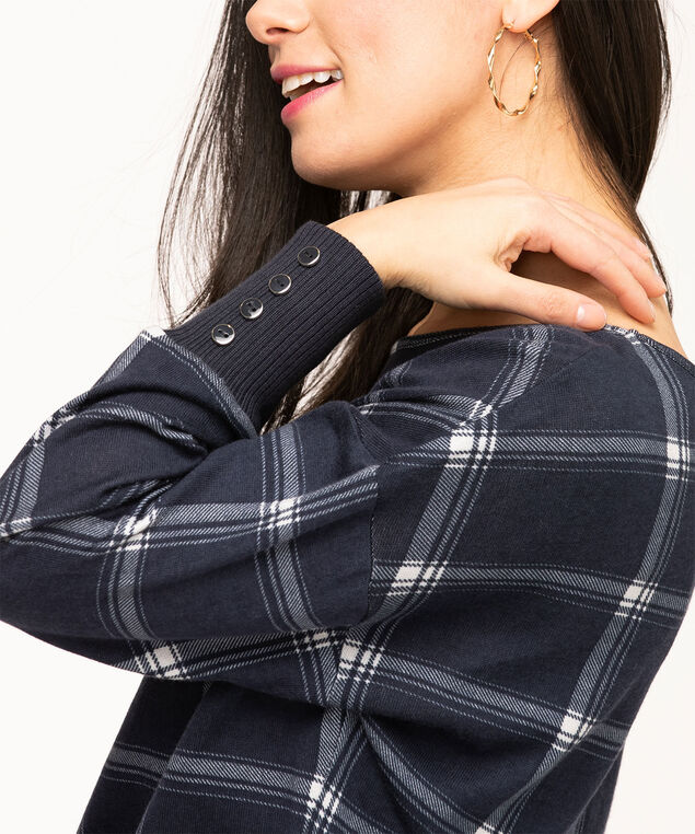 Plaid Scoop Neck Banded Hem Top, Navy/White