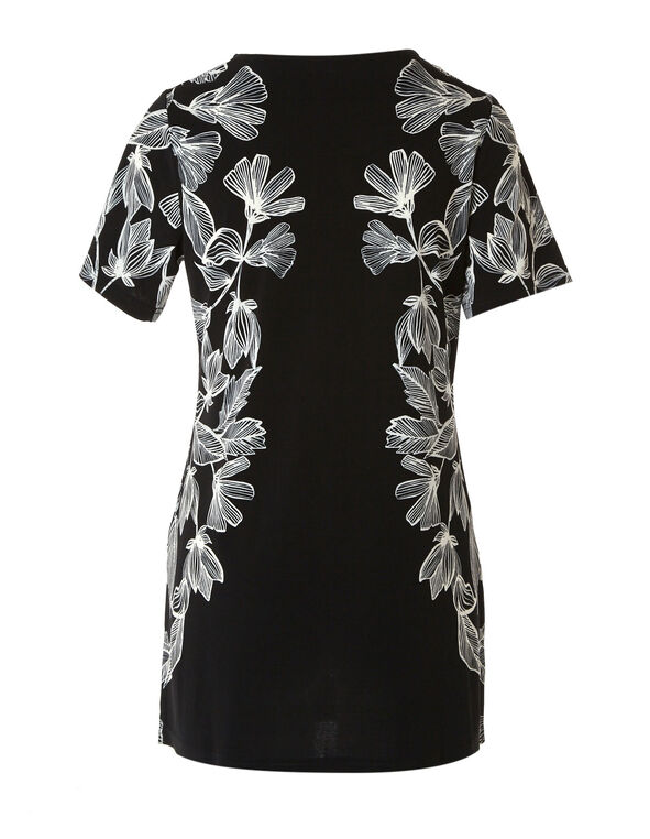 Black and White Floral Print Tunic Top, Black, hi-res
